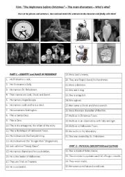 English Worksheet: Film The Nightmare before Christmas - The Characters - Reading
