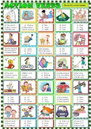 English Worksheet: Action verbs /multiple choice