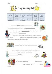 English Worksheet: A day in my life