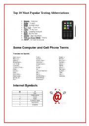 Internet and cell phone terms; Texting abbreviations