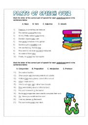 It is an image of Bright Part of Speech Quiz Printable