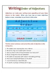 English Worksheet: Order of Adjectives - How do you put adjectives in a sentence properly?
