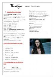 English Worksheet: Thank You - Thank U - Alanis Morissette - Song Class