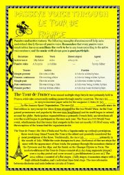 English Worksheet: Passive voice and reading comprehension through the Tour de France