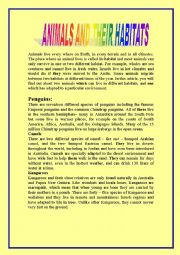 English Worksheet: Animals & Habitats