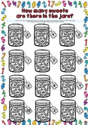 English Worksheet: How many sweets are there in the jars? WORKSHEET