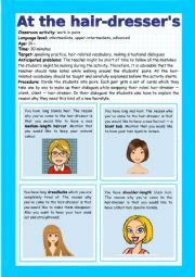 English Worksheet: At the hairdresser�s - speaking activity