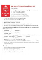 English Worksheet: THE STORY OF KEEP CALM AND CARRY ON video