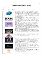 English Worksheet: LETS TALK ABOUT REALITY SHOWS