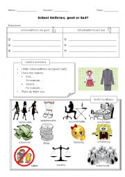 English Worksheet: Introduction to Debate - For or Against School Uniforms