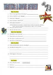 English Worksheet: Writing a Movie Review