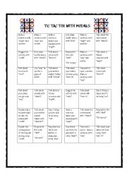 English Worksheet: Tic Tac Toe with Modals