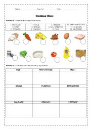 English Worksheet: Cooking Class - Vocab + Verbs + Recipe + Cutting and pasting w/asnswer key