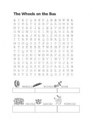 English Worksheet: The wheels on the bus wordsearch