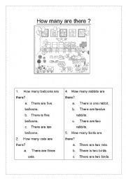 English Worksheet: How many are there?
