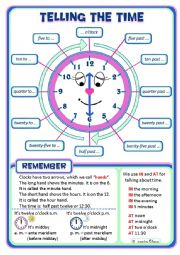 English Worksheet: Telling the Time Poster