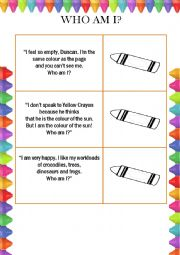 The day the crayons quit. Reading comprehension.