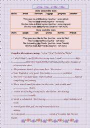 English Worksheet: a few,few,a little,little