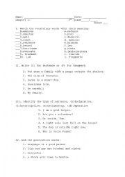 English Worksheet: Test: sentence, fragment, punctuation marks, vocabulary