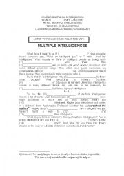 English Worksheet: Multiple Intelligences - reading comprehension