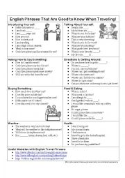 English Worksheet: English Phrases Good to Know When Traveling