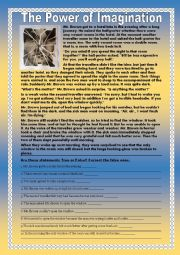 English worksheet: Reading Comprehension ´The Power of Imagination´