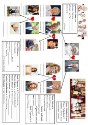 English Worksheet: UPDATED! The Royal Family Tree (family members and genitive form)