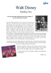 English Worksheet: Walt Disney Reading Activity