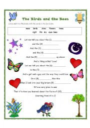 English Worksheet: Birds and Bees Song Activity for Young Learners