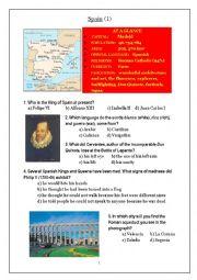 English Worksheet: Spain Quiz 1