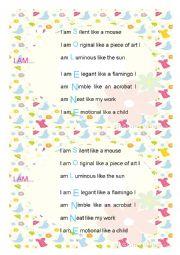 English Worksheet: I am poem