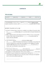 English Worksheet: commercial contract