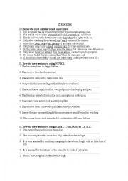 English worksheet: inversion exercises