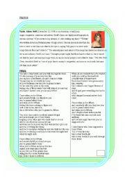 English Worksheet: Worksheet for teaching the song