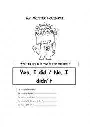 English Worksheet: MY WINTER HOLIDAYS