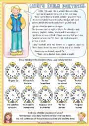 English Worksheet: Luigi�s daily routine