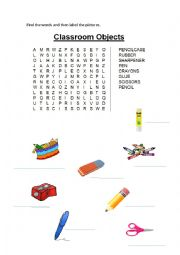 classroom objects word search esl worksheet by rozzlima. Black Bedroom Furniture Sets. Home Design Ideas