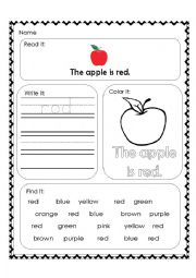 English Worksheet: Red worksheet