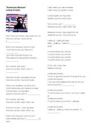 English Worksheet: American Woman- Lenny Kravitz Fill in the blanks