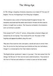 English Worksheet: Vikings Worksheet and associated activities Pre-Int