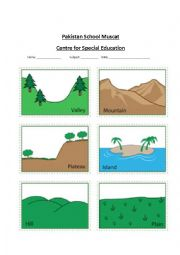 English Worksheet: landforms