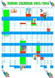 English Worksheet: SCHOOL CALENDAR 2015/2016