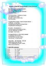 English Worksheet: EMILY DICKINSON�S POEM Because I Couldn�t Stop for Death