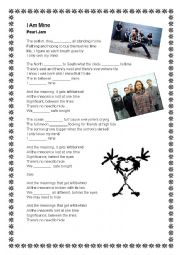 English Worksheet: Pearl Jam - I am mine