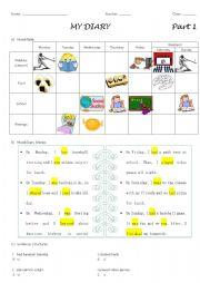 English Worksheet: Writing a Diary