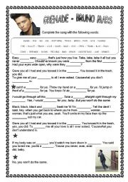 English Worksheet: Bruno Mars - GRENADE