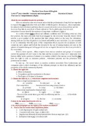 English Worksheet: the first term exam of english about ethics in business