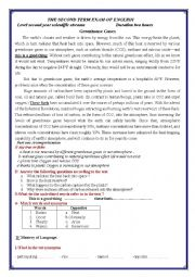 English Worksheet: the second term Exam of english about greenhouse