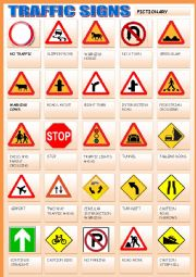 English Worksheet: TRAFFIC SIGNS