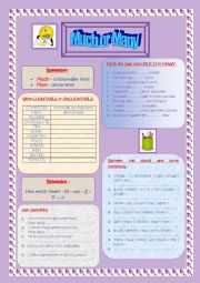 English Worksheet: Much or Many